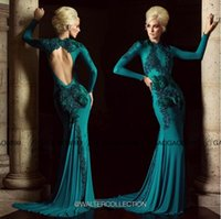 Cheap Walter Collection Peacock Keyhole Back Long Sleeve Mermaid Prom Dresses 2016 High Neck Dubai Arabic Lace Feather Occasion Cheap Gown
