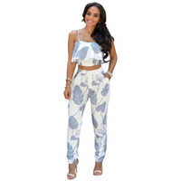 Cheap Summer Fashion 2016 Short Tops Women Strap Blended Printing 2 Piece Sets Suit Vest+Pants Casual Tracksuits For Women