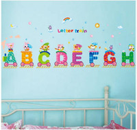alphabet stickers lot - Cartoon animal alphabet train wall stick Children room wall stickers Indoor wall stick Personality wall stick