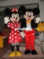 100% como fotos de alta calidad de Mickey Mouse de la mascota trajes para adultos Mickey y Minnie traje de la mascota del traje de lujo del carnaval dos PC libera el envío