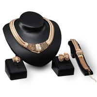 american indian costumes - 2016 Fashion Women African Costume Jewellery Set k Gold Plated Necklace Bracelet Earrings Ring Set Wedding Accessories Jewelry