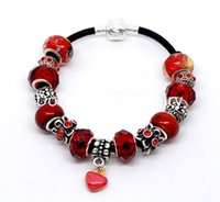 agate pieces jewelry - Fashion Jewelry Bracelets hot Handmade Snap Clasp Real Leather Love Heart Red Charm Bracelet Fit European Charm cm Piece B10934
