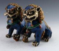 lion statue - A Pair Chinese Cloisonne Copper Statue Lion