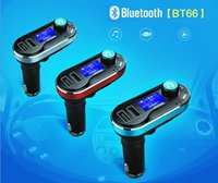 Wholesale Bluetooth Car FM Transmitter Hands free Phone Call Dual USB Car Charger mm Aux Receiver MP3 Player Remote Control LCD Display BT66