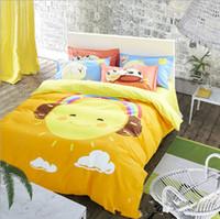 achat en gros de reine couette jaune-Yellow Big Smile Emoji Impression literie Ensembles pour les enfants 100% coton Queen King Size Bedclothes Housse de couette pour les enfants Enfants Lit Spreads