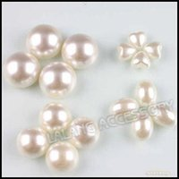 Wholesale Mixed White Plastic Cabochon Flatback Pearl Beads Findings No hole