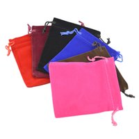 Wholesale Velveteen Velvet Pouches Jewelry Gift String Drawstring Christmas Wedding Bags With Draw x12cm x4