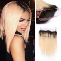 Cheap Ombre Color 1b 613 straight 360 Lace Frontal Full Lace Band Frontal Natural Hairline 360 Lace Frontal Closure With Baby Hair