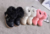Wholesale 2016 New Girls Cotton Shoes Korean Cony Hair Flat bottomed Skid Resistance Kids Boots Warm Ankle Boots