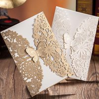 Wholesale Gold Laser Cut Butterfly Luxury Wedding Invitation Vintage Glam Pearl Paper Hollow out Invitation Cards Printable Wedding Words Free DHL
