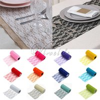 Wholesale One Tulle Roll Spool Lace Roll quot x10YD Netting Fabric Tutu Skirt Chair Sash Bow Table Runner Lace Fabric Wedding Decorations Top quality