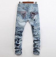 american beads - Men Straight Jeans Classic Denim Trousers Robin Jeans For Men High Quality Cotton Jeans Fried Snow Slim Jeans Rhinestone Decoration