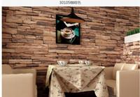 Wholesale New meter D Luxury Wood Blocks Effect Brown Stone Brick M Vinyl Wallpaper Roll Living Room Background Wall Decor Art Wall Paper