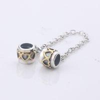 Los nuevos encantos de la plata esterlina de la llegada 925 atormentan los granos de cadena seguros del oro del corazón 14k Conveniente para la joyería europea de las pulseras DIY de Pandora