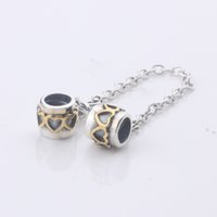 Wholesale New Arrival Sterling Silver charms thread heart k gold safe chain beads Suitable For European Pandora bracelets DIY Jewelry