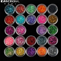 Wholesale Set Color Sequins Glitter Powder Dust gem Polish For UV GEL Acrylic Nail Arts Decorations DIY Manicure Design Tools