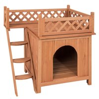 Wholesale Best Choice Products Wood Dog House Shelter With Raised Roof Balcony