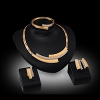 asian braceletes - New Style Classic Unique Crystal Stone K Gold Plated Jewelry Sets Necklace Braceletes Earing Ring Hot Sale Fahion Jewelry Sets For Women