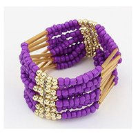 Wholesale Korean Women Beaded Bracelets - 2015 Spring Korean Designer Fashion Bohemia Beads Bracelet Beaded Multilayer Strand Stretch Bracelets Bangles For women Girl DHB431