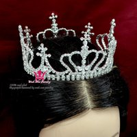 beauty ornaments - Cross Crown Tiara Rhinestone Crystal Full Round Gorgeous Queen s Princess s Headwear Hair Ornament Bridal Wedding Beauty Pageant Mo074