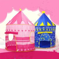 best animes - New Arrival Portable Blue Pink Prince Folding Tent Kids Children Boy Castle Cubby Play House For Kids Best Gift