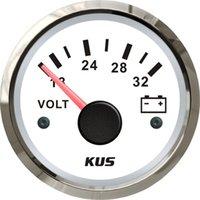 Wholesale mm voltmeter volt meter gauge white face volts stainless steel bezel V for car truck marine boat yatch