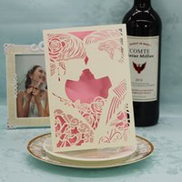 Wholesale Romantic Wedding Invitation Cards Laser cut Bride and Groom Wedding Favor Invitations Customized and Free Printing Wedding Words Wholesales