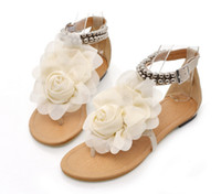 Flat Heel beautiful flip flops - Fashion Girl sandals beautiful flower summer shoes girl anti slipping sandal shoes Kids casual shoes Bohemian flat sandals women s shoes