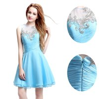 Wholesale Custom Made Open Back Homecoming Cocktail Dresses Sky Blue Chiffon Luxury Beaded Crystals Cheap Short Evening Prom Party Gowns Under