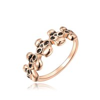 Wholesale 2016 K Gold Plated Halloween Band Rings Solid Rose Gold Skeleton Skulls Design Charm Jewelry For Woman Party Gift Bijoux R022