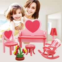 Wholesale Baby Toys Assembling Bedroom Living Room Chair Set Small Furniture Model Building Kits Furniture Blocks Wooden Toys Child Gift