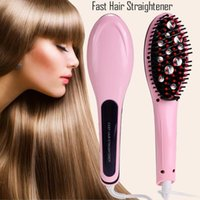 Wholesale Beautiful Star White Pink Straightening Irons Come With LED Display Electric Straight Hair Comb Brush US EU AU UK Plug