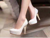 Wholesale Korean Wedding Shoes Bride - In the summer of 2016 the new south Korean princess crystal ultra high heels wedding shoes female bride white light mouth single waterproof