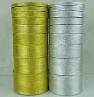 Wholesale 25yard volum Gold ribbon cm silver with green onions wedding decoration ribbons Cake gift wrap ribbon streamers hot sale E86