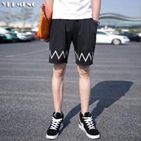 street wave board - shorts men summer new polyester spandex beach shorts board xl bermuda wave print pantacourt navy blue black street focus