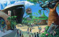 attraction nature - 24X36 INCH ART SILK POSTER Painting Madagascar Drawing ship tree airplane people attractions Carousel Penguin