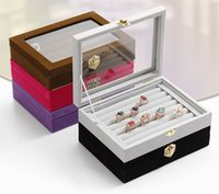 Wholesale Small ring jewelry box glass cover ring storage box stud earring box wheel stud earring jewelry holder accessories display rack