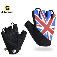 bicycle flags - MONTON Cycling Gloves Non Slip Bike Gloves Breathable Bicycle Equipment Half Finger France Britain Canada Italy Flag Glove Size S M L XL