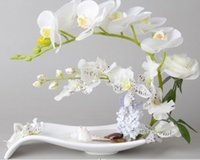 artificial flowers in vases - Artificial phalaenopsis Orchid Rose Flower in Ceramic Pot Vase Wedding Home Table Decor White Green F313