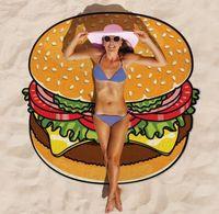 Wholesale 2016 New Pizza Hamburger Donuts Printing Round Beach Towel Shawls Ms Summer Beach Essentials