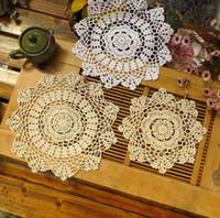 Wholesale kitchen accessories placemats for table cotton crochet doilies hollow cm White Beige colors Round