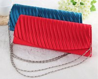 Wholesale Elegant evening bags satin clutch hand bags women party clutch women evening hand bag with free strap chain