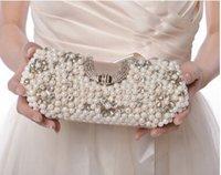 Mujeres de moda de lujo de cuentas Cultch Lady Perla de las mujeres elegantes bolso de noche Preciosas banquete bolso de boda nupcial monedero con cadenas