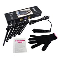 Wholesale 09 mm Pro Series in Curling Wand Set Hair Curling Tong Hair Curling Iron The Wand Hair Curler Roller Gift Set
