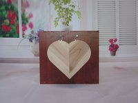 Wholesale Creative heart shaped wooden hanging ornaments gifts phone remote control storage box pencil box storage box