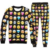 auto expressions - Sport Suit Women Men D Emoji Emoticon Expression Tracksuit bowknot Lipstick Sweatsuits Tracksuits Suits Sportswear costume