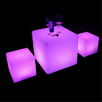 Wholesale 2pcs led illuminated furniture waterproof CM led cube with remote control LED light up stool chair luminous led cube outdoor