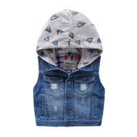 Wholesale All matched New Kids washed holes Denim vest with sailing boat hood Waistcoats Fall Winter boys Jackets Fashion Kids Clothes quality