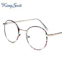 Wholesale KingSwit Vintage Clear Eyeglasses Men Women Purple Flower Round Eye Glasses Frame Optical Eyewear KE063