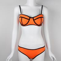 Juego de la manera neopreno Bikinis Señora del nuevo verano atractivo del traje de baño de las mujeres empuja hacia arriba bikini conjunto 100sets Bathsuit Trajes de baño